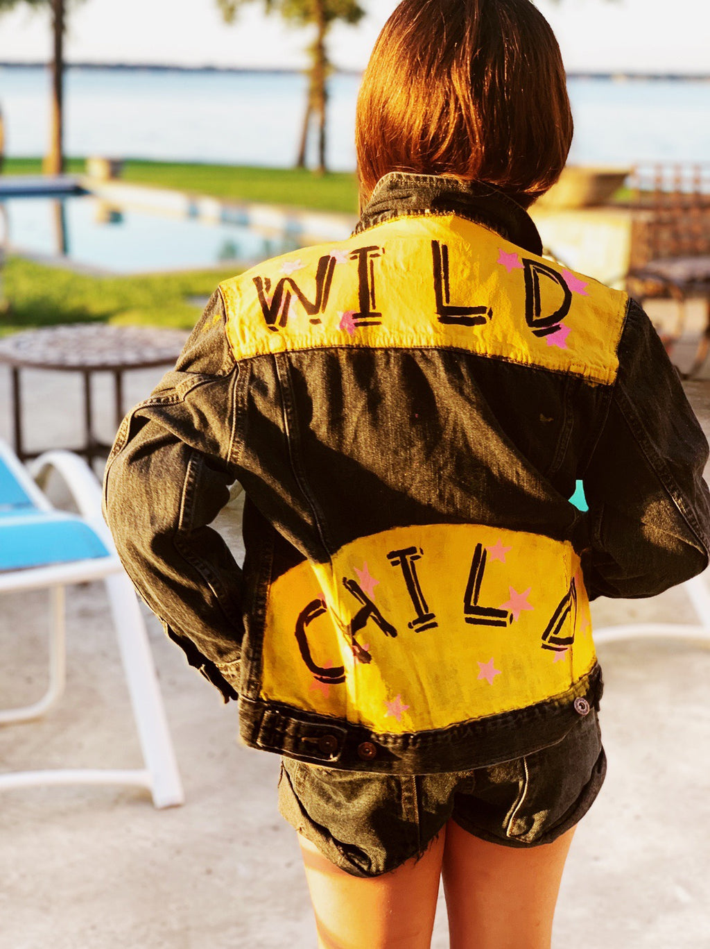 Kids Hand Painted WILD CHILD denim jacket