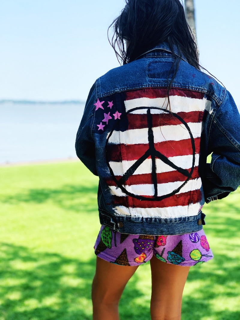 Kids Hand Painted Red White & Peace Denim Jacket