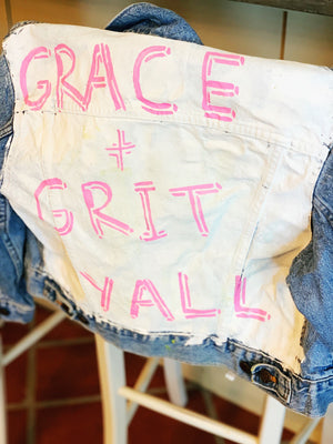 Womens Hand Painted Grace + Grit Yall Denim Jacket