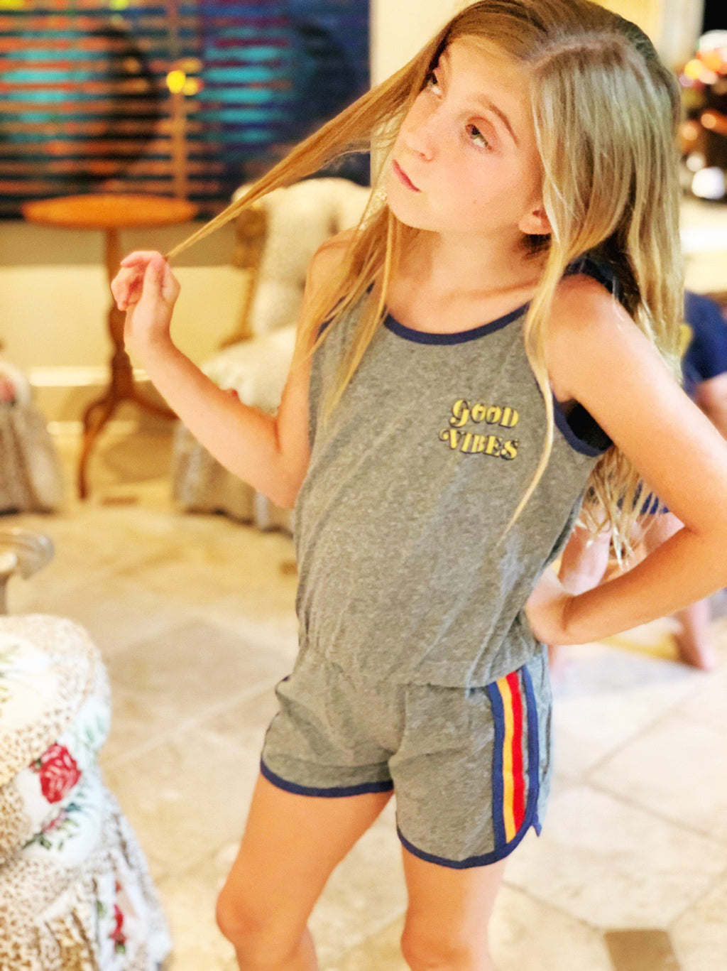 Girls GOOD VIBES ROMPER