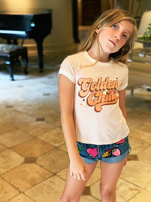 Girls GOLDEN CHILD BOXY RINGER TEE