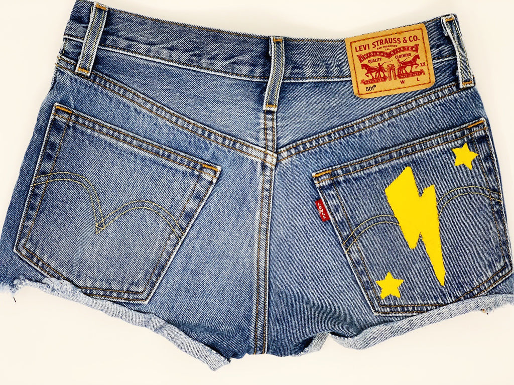 Women's Hand Painted 'She Strikes Again'  Denim Shorts