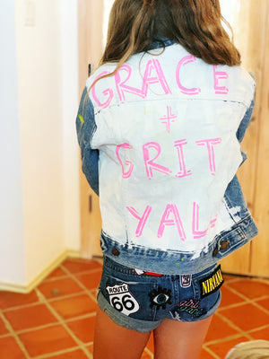 Kids Hand Painted Grace + Grit Y'all Denim Jacket