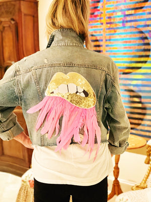 Womens Custom Denim Jacket with Gold Lips & Pink Feather trim