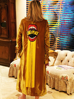 Womens Custom Mustard Yellow Velvet Duster