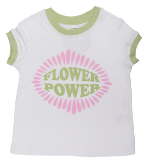Girls FLOWER POWER BOXY RINGER TEE