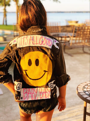 Kids Hand Painted ITS ALL GOOD BABY BABY Denim Jacket