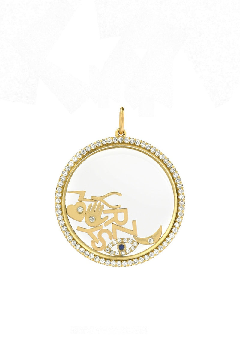14K Gold Diamond Large Locket