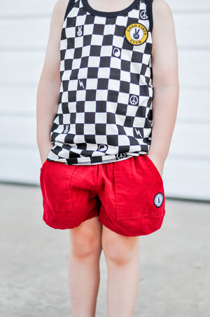 KIDS CORDUROY DAD SHORTS RED
