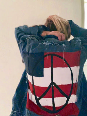 Women's 'Red, White & Peace' Hand Painted Jacket