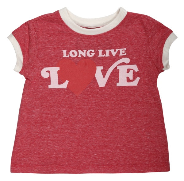 Girls LONG LIVE LOVE BOXY RINGER TEE