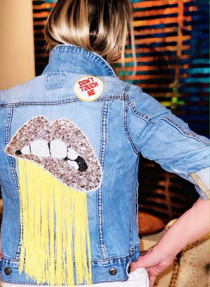 Womens Custom Denim Jacket with Silver Lips and Yellow Fringe