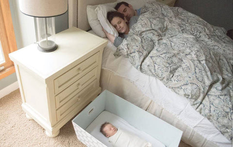 Parents sleeping with baby in Adora Box