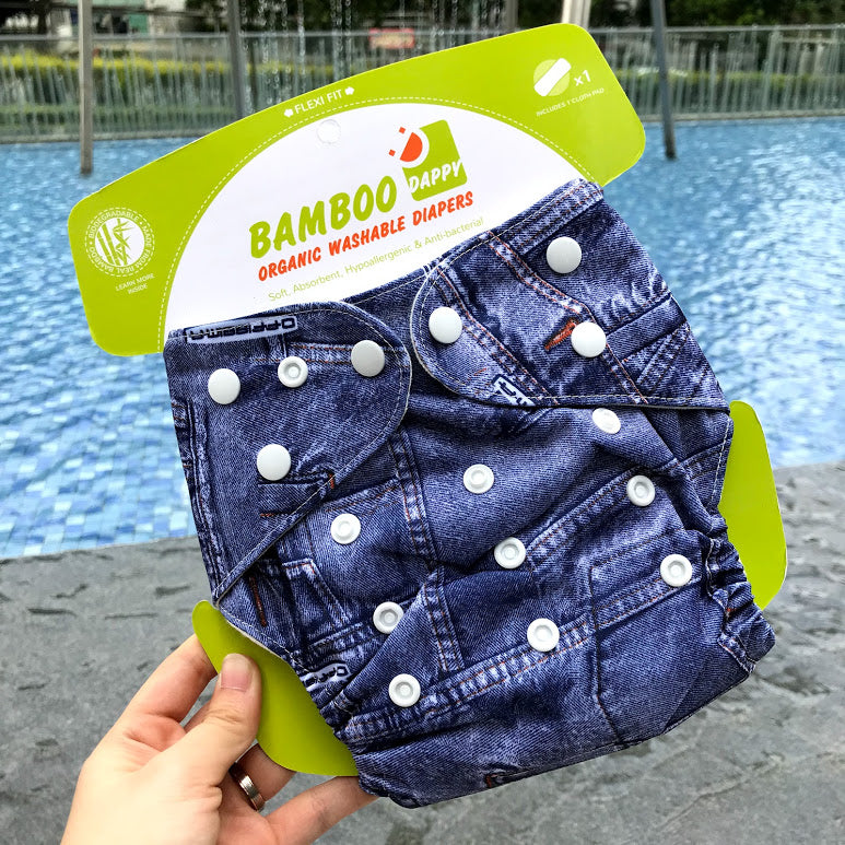 Load image into Gallery viewer, Bamboo Dappy Reusable Diapers in Denim - Single Piece with 2 Inserts - Adora Box