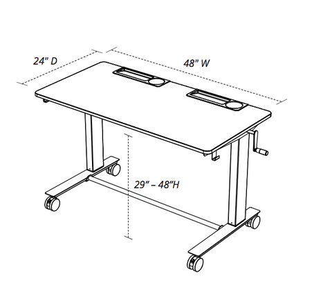 Luxor 2 Student C Two Student Standing Desk With Crank Handle