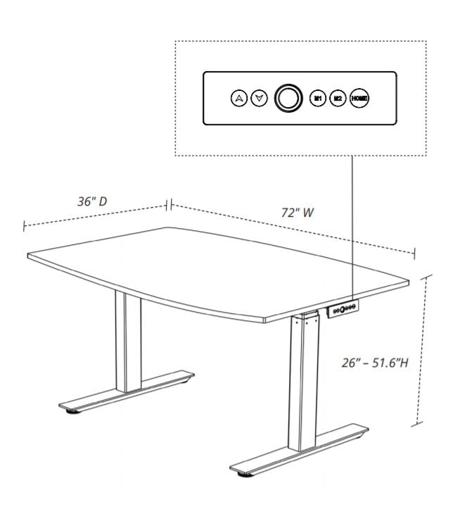 Luxor STANDECT72WO Electric Adjustable Conference Table 72 inch