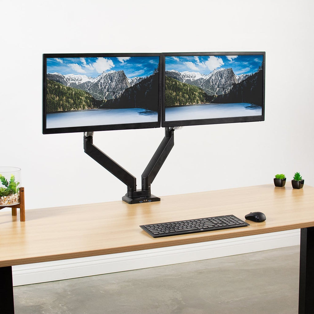 "VIVO Black Dual Monitor Sit-Stand Desk MountHolds 2 Screens 17/"" to 32/"""