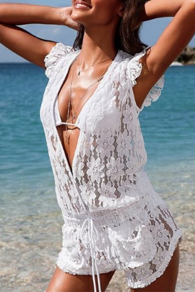 Cupsomer Lace White Beach Cover Up