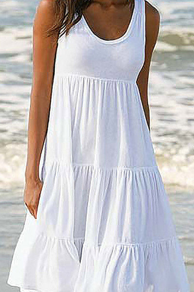 Cupsomer Flowy Loose Simple Casual Sleeveless Dress