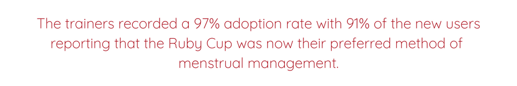 The trainers recorded a 97% adoption rate with 91% of the new users reporting that the Ruby Cup was now their preferred method of menstrual management.