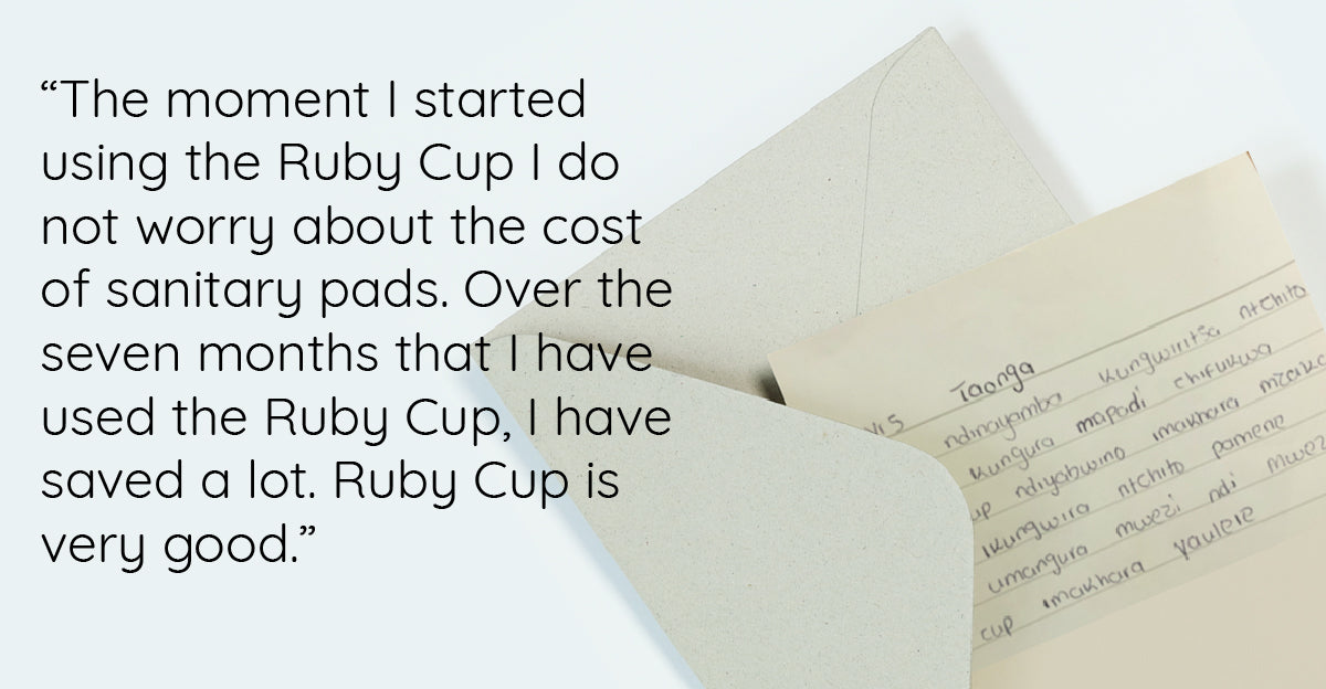 Letter from a girl in Malawi received Ruby Cup