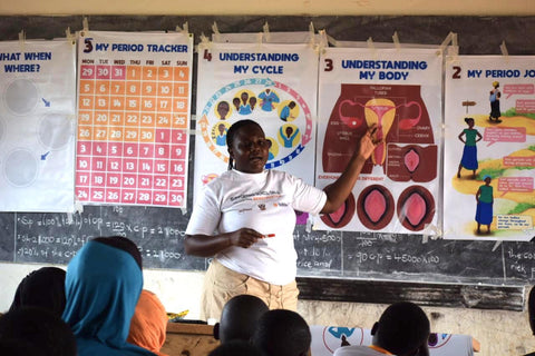 Ruby Cup Menstrual Cup Education Training Tool Kit in action in Uganda with Womena