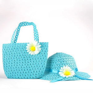 CW/_ Summer Girls Kids Baby Cap Flower Decor Beach Straw Sun Hat Handbag Set Eyef