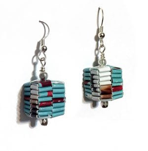 Recycled Paper Woven Dangle Earrings