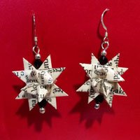 Recycled Book German Star Paper Earrings