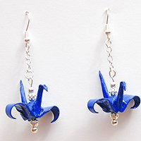 Dark Blue & Silver Chain Origami Crane Earrings