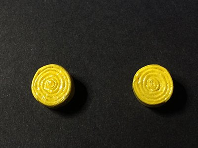 Yellow Rolled Stud earrings