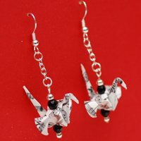 MUSIC ORIGAMI CRANE EARRINGS