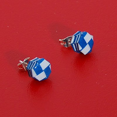Paper Woven Octagonal Dark Blue And White Stud Earrings