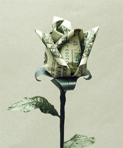 $1 DELUXE BUDDING ORIGAMI LUCKY MONEY RO$E