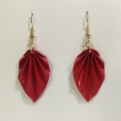 Red Leaf Origami Earrings