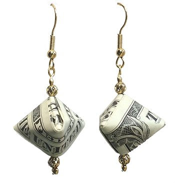 Dollar Bill triangular Origami Money earring