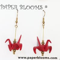 Red Crane Earrings with Gold wire