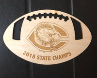 Cuero State Championship laser engraved wood ornaments