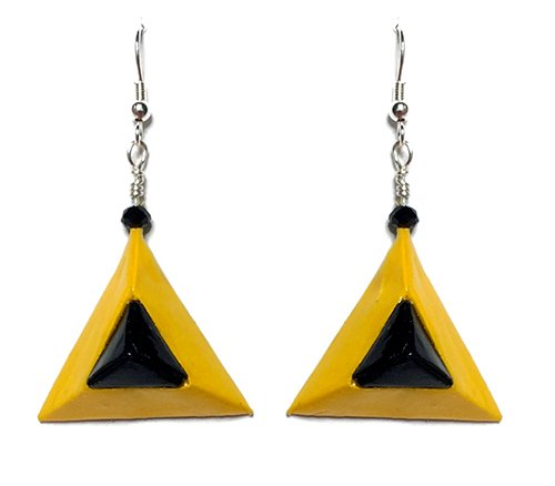Triangular pyramid origami yellow and black earrings