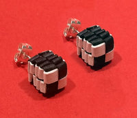 Black and White Woven Cube stud earrings