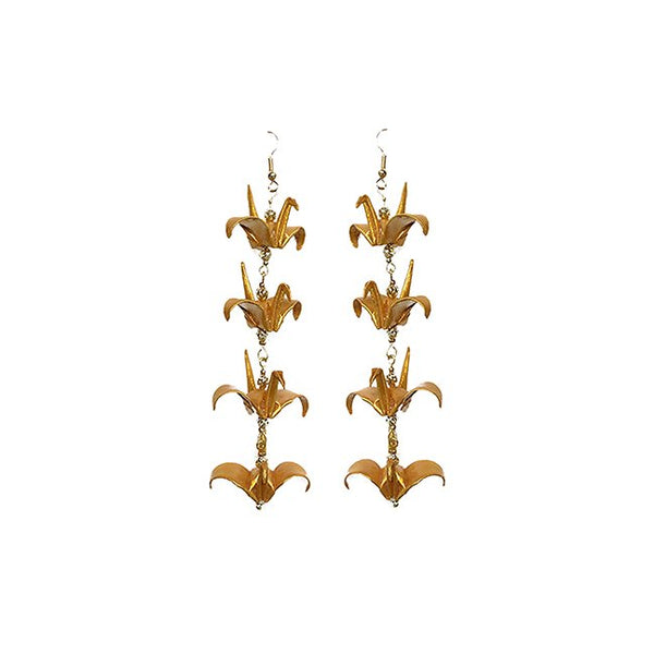 8 Lucky Gold Origami Crane earrings