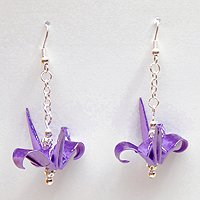 Purple and Silver Chain Origami Crane Earrings