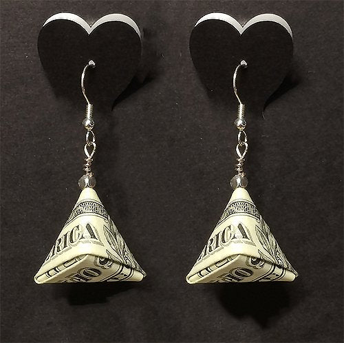 $1 Triangular Money Earrings