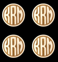 Monogrammed Laser Cut Round Wooden Coasters, Set of 4