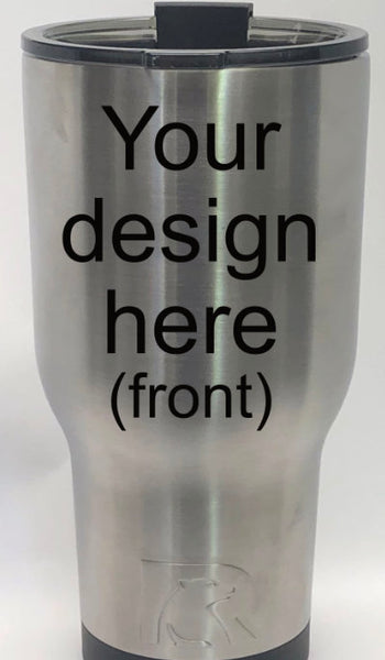 Personalized laser engraved 30 or 40 oz stainless steel tumbler