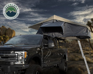 Overland Vehicle Systems Nomadic 4 Extended Roof Top Tent - Dark Gray Base With Green Rain Fly & Black Cover Universal
