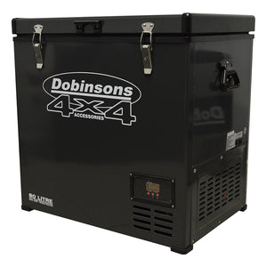 DOBINSONS 4×4 80 LITER DUAL ZONE 12V PORTABLE FRIDGE FREEZER, FREEZES AND REFRIGERATES AT SAME TIME, INCLUDES FREE COVER BAG