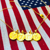 VOTE HAMMERED DISC NECKLACE