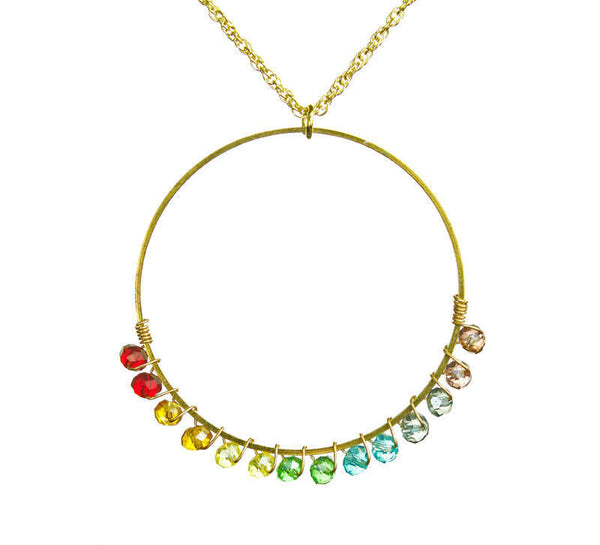 PRIDE & Chakra Crystal Gold Ring Outline Necklace