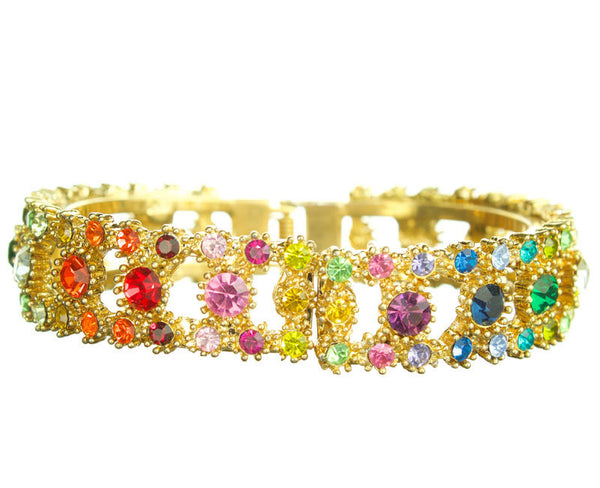 Gold Rainbow Multi Chakra Crown Bangle